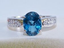 GENUINE 1.46ct! London Blue Topaz Solitaire Ring, Solid Sterling Silver 925.