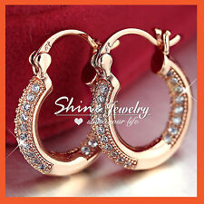 9K 9CT PINK ROSE GOLD GF SWAROVSKI LAB DIAMOND WOMEN SMALL HOOP SLEEPER EARRINGS