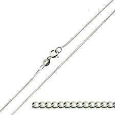 """9ct Solid White Gold  Diamond Cut Curb Chain Necklace 18"""""""