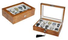 Elegante Uhrenbox aus Holz für 10 Uhren mit Sichtfenster und abschließbar