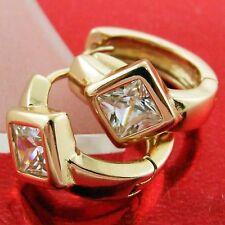 FS581 GENUINE REAL 18K ROSE GF GOLD SOLID DIAMOND SIMULATED HUGGIE HOOP EARRINGS