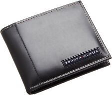 Tommy Hilfiger Mens Black Leather Cambridge Passcase Wallet in Gift Box