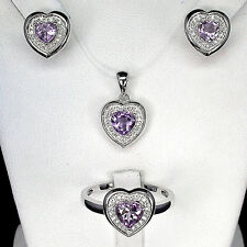 Sterling silver 925 Natural Amethyst Heart Pendant, Earring & Ring Sz R.5 (US 9)