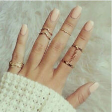1 Set Fashion Leaf Mini Mid Finger Rings Gold Stacking Chain Jewelry Womens Gift