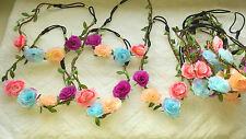 Joblot 24pcs Mixed colour Rose Flower Elasticated Headband wholesale lot 7