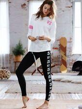 Victoria's Secret Womens Black Leggings Yoga Pants High Waisted Cotton (Size M)