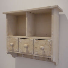 Shabby Chic Style Vintage Wall Mounted Storage Cabinet Hooks Distressed Look