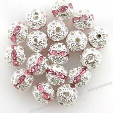 100pcs 110238 Wholesale Pink Rhinestones Spacer Brass Beads Jewelry Findings 8mm