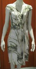 SABA LIGHT PALM SILK DRESS Size 10 sleeveless above knee white green new tag