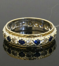 Vintage 9ct Sapphire & Simulated Diamond Full Eternity Ring (Size M) 5mm Width