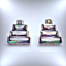 Extravagante Regenbogen Topas Ohrstecker 925 Silber rhodiniert 15 x 14 mm