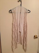 Metalicus Cream Long Vest With Lace Panels OSFA