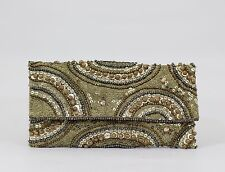 Accessorize full beaded sequin Gold clutch bag Party Evening wedding purse
