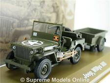 JEEP WILLYS MB ARMY MILITARY MODEL CAR & TRAILER 1:43 SCALE ISSUE K8967Q~#~