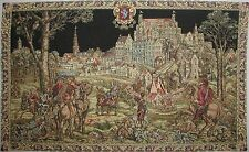 """MEDIEVAL BRUSSELS, THE CAVALIERS 43"""" FULLY LINED TAPESTRY WALL HANGING"""
