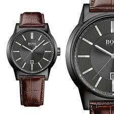 Hugo Boss 1513071 Schwarz Edelstahl Herrenuhr Leder Armbanduhr