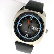 Seiko Mens Silver Blue Dial Automatic Watch SNKN01 Stainless Steel Leather