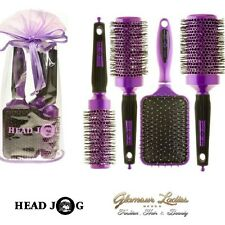 Head Jog Purple Hair Brush Set, Paddle, Radial, Ceramic, Ionic, Gift Bag