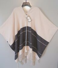 NWT By Malene Birger 100% Wool Off-White & Charcoal Sinadis Poncho Size XS