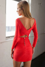 Size 10 Sexy Red Low Back Cutout Stretch Body Con Bandage Cocktail Party Dress