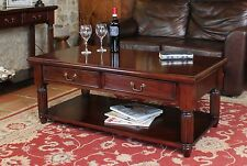 La Roque two drawer storage coffee table solid mahogany living room furniture
