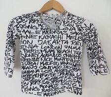 90s Girlie Shirt 34 36 XS S schwarz weiß Druck Schrift Städte 3/4 Arm 90er