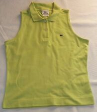 """LADIES LACOSTE F4811 SIZE 40 LIME GREEN SLEEVELESS POLO SHIRT TOP CHEST 34"""""""