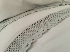 BEAUTIFUL LACE EDGED STONE TAUPE FLAT SHEET SINGLE 100% COTTON  200 THREAD COUNT