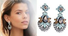 E971 Betsey Johnson Royal Blue Crystal Gemstone Bridal Moon Stone Earrings AU