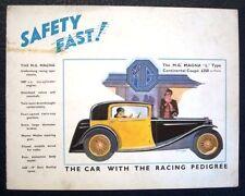 MG MAGNA TYPE L RANGE Car Sales Brochure Oct 1933