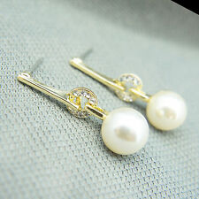 14k Gold plated Swarovski elements crystals pearl dangle elegant earrings