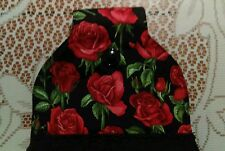 Gothic, Red roses, romantic black hanging Hand Towel-Handmade Button Close, New