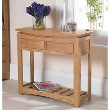Crescent solid oak hallway furniture console hall table with drawers