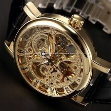 Golden Steampunk Transparent Skeleton Mechanical Men's Sport Leather Wrist Watch