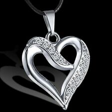 Crystal Unisex Men/Women Stainless Steel Heart Pendant Necklace Leather Chain