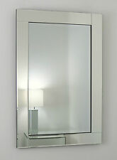 "Clarissa Silver Glass Framed Rectangle Bevelled Wall Mirror 40"" x 28"" V Large"