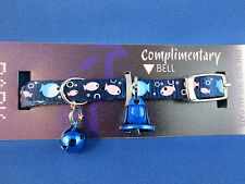 Cat Collar - Reflective - Park Avenue Dark Blue Fish Pattern with Safety Elastic