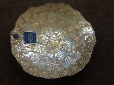 """BNWT Gorgeous Gold/Silver Roses Handmade Glass Decorated Plate, 16"""" X 3"""""""