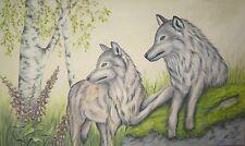Acrylmalerei Christiane Schwarz; WOLFSPAAR ca. 100x60cm, KUNST WÖLFE BILD NATUR