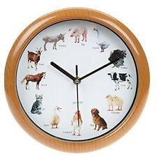 Musical Farm Yard Wall Clock 12 Animal Sounds Every Hour Sleep Mode Battery