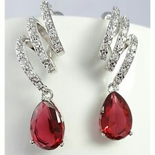 Pink Red Crystal Earrings Stud Dangle Drop Cubic Zirconia White Gold Plated UK