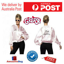 Grease Pink Ladies Satin Jacket Woman 50s Costume Fancy Dress Frenchie Rizzo