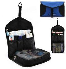Men Blue & Black Toiletry Travel Hanging Hook Wash Shower Bag Organizer Kit Case