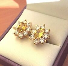 D06 Lemon citrine & white sapphire stud earrings, 18k gold filled, BOXED Plum UK