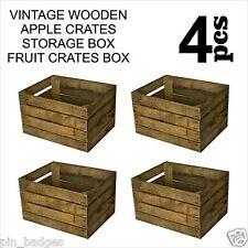 4pcs VINTAGE WOODEN APPLE CRATES STORAGE BOX FRUIT CRATES BOX