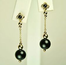 14k solid yellow gold gorgeous natural Black Onyx earrings screw back 4.2 tcw
