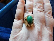 BEAUTIFUL NATURAL EARTH MINED GREEN TURQUOISE CABOCHON RING 18 CARAT GOLD SIZE P