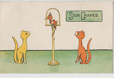 """1906 postcard """"Sour Grapes"""" showing cats Queenscliff 70 & Doncaster postmarks"""