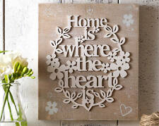 Home Is Where The Heart Is Wall Plaque Rustic Wooden Sentiment Hanging Sign
