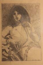 Orientalin, Sklavin, Orient, Harem, Bleistiftzeichnung 1932, signiert H. Bolz